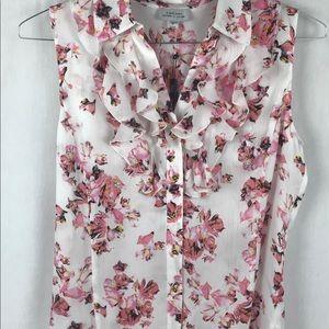 Tahari Pink Flower Sleeveless Blouse